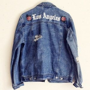 Embroidered distressed denim Jacket